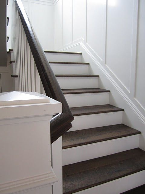 Reclaimed wood treads + white risers stairs -- This is cool