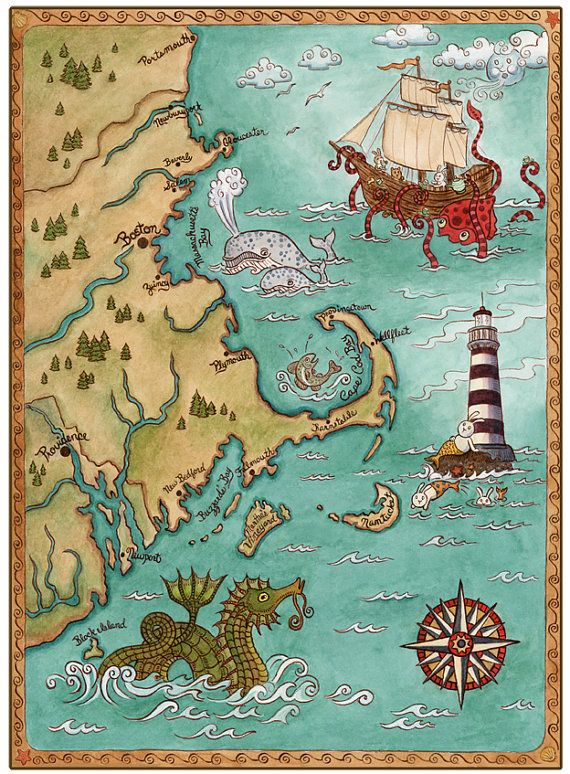"New England Coastal Map Cape Cod Sea Monster Art Print 8"" x 10"""