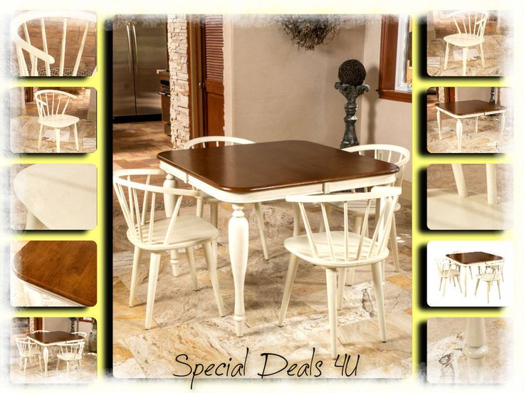 Dining Room Set Table Chairs Classic Kitchen Wood 5 Pcs Antique White Furniture #DiningRoomSet #TraditionalClassicContemporary