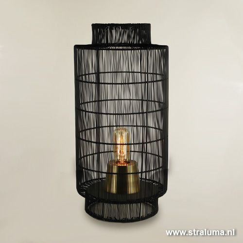 Beautiful Lantaarn tafellamp Gruaro zwart draad straluma nl