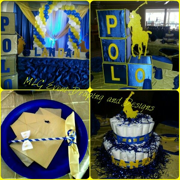 Delightful Yellow And Royal Blue, Polo Theme Baby Shower.