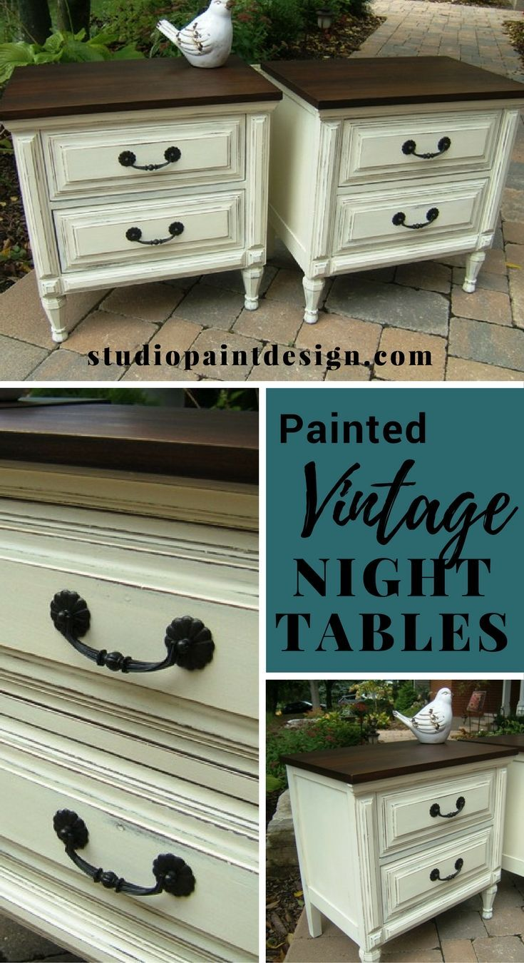 Painted Vintage Night Tables Stands Annie Sloan Chalk Paint DIY Inspiration General Finishes Java Gel Stain #paintedfurniture  #paintednighttable #DIY #distressed #anniesloan #chalkpaint
