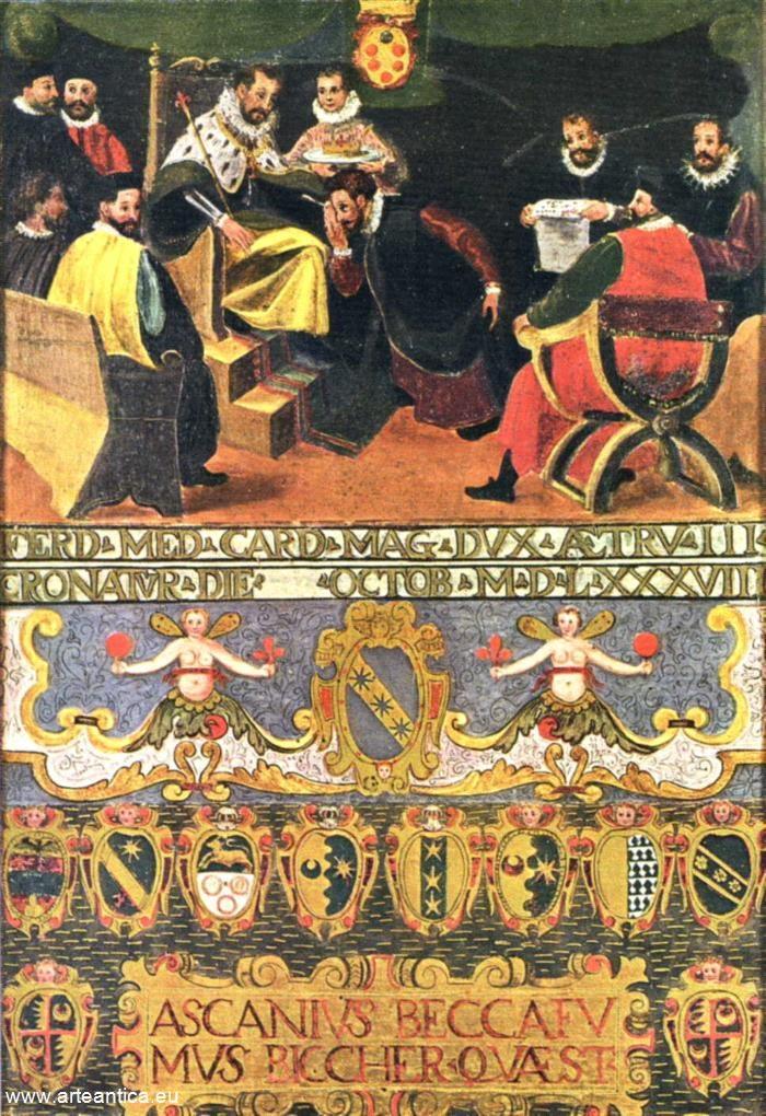 I senesi rendono omaggio al cardinale Ferdinando de Medici eletto granduca di Toscana. Del 1588  Autore: senese anonimo  Tempera su Tavola