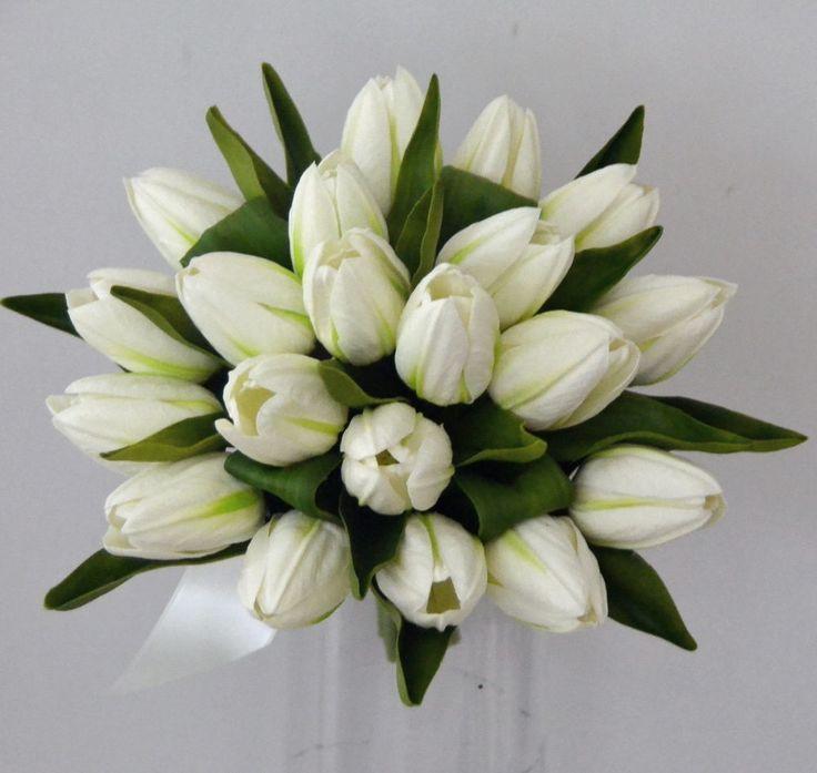 SILK WEDDING BOUQUET LATEX TULIP WHITE CREAM BRIDAL POSY BOUQUETS FLOWERS FLOWER