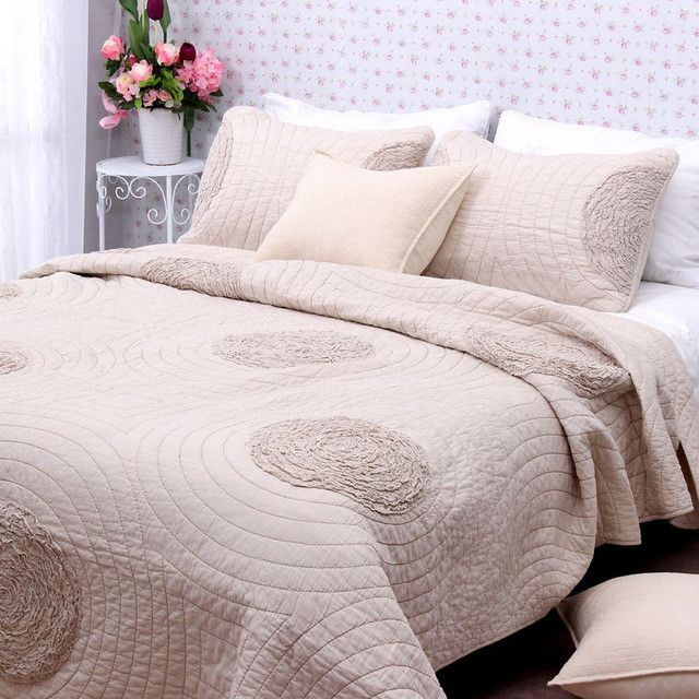 Simple and elegant embroidery 3pcs 1* bedspread 2 *pillowcases simple Countryside Quilt Set Queen Quilted Bedspreads