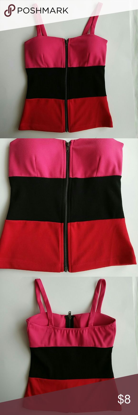 Tank top Pink, black and red tank top. Never worn. Tops Tank Tops
