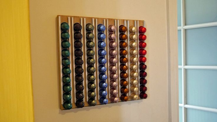 Home-made Nespresso Holder. Designed and built by me and the kids!  http://www.AdrianJohnson.com