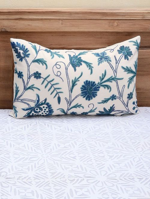 White-Blue Crewel-embroidered Cotton and Wool Pillow Cover with Floral Motif (26in x 16in)