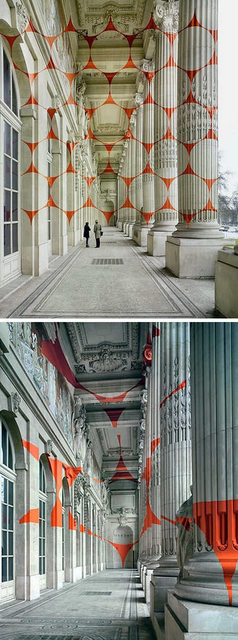 """Felice Varini is known for his geometric perspective-localized paintings in rooms and other spaces, using projector-stencil techniques.    The Swiss artist has just completed this new piece in Paris for an upcoming exhibition at the Grand Palais which is entitled """"Dynamo""""."""