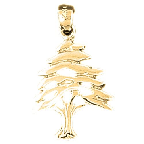 14K Yellow Gold-plated 925 Silver Cedar Tree Pendant Jewels Obsession Silver Cedar Tree Pendant
