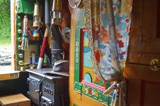 Solid fuel stove in Boatmans cabin