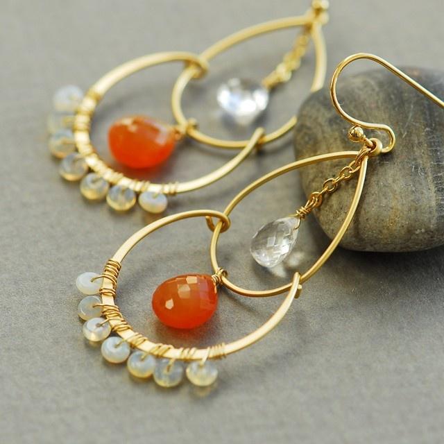 Carnelian earrings, Opal earrings, Crystal quartz earrings, orange chandelier earrings, orange and gold, gemstone gold earrings. $69.00, via Etsy.