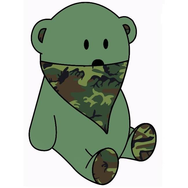 dark green bear & camo bandana