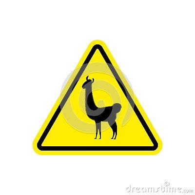 Lama Warning sign yellow. llama Hazard attention symbol. Danger