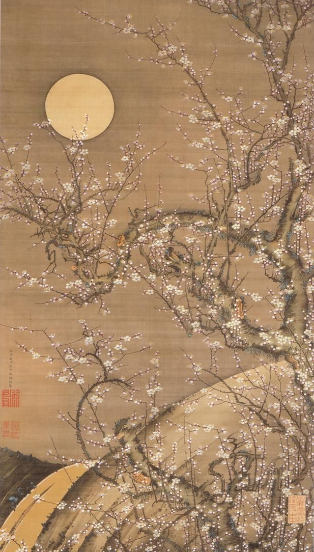 Itō Jakuchū(伊藤若冲 Japanese, 1716-1800)  White Plum Blossoms in Moonlight   月夜白梅図  silk, ink and color  More Itō Jakuchū