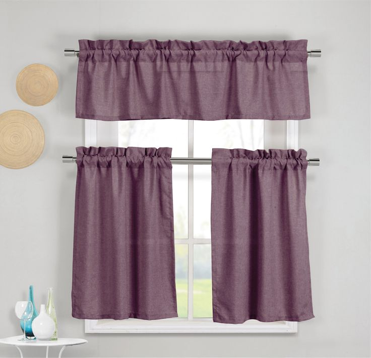 3 piece faux cotton plum purple kitchen window curtain panel set with 1 valance and 2 tier panel curtains - Kitchen Window Valances