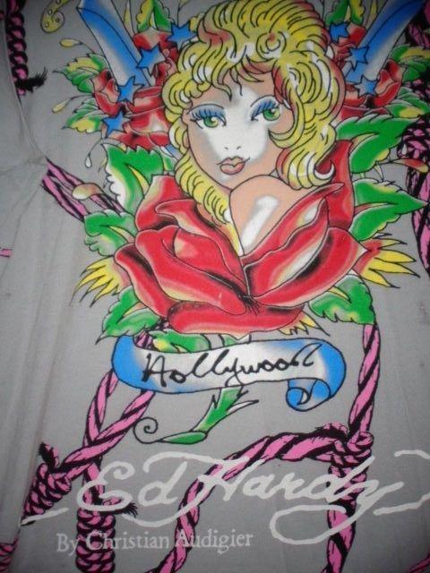 Don Ed Hardy Christian Audigier XL t-shirt blonde girl pink ropes Hollywood USA…