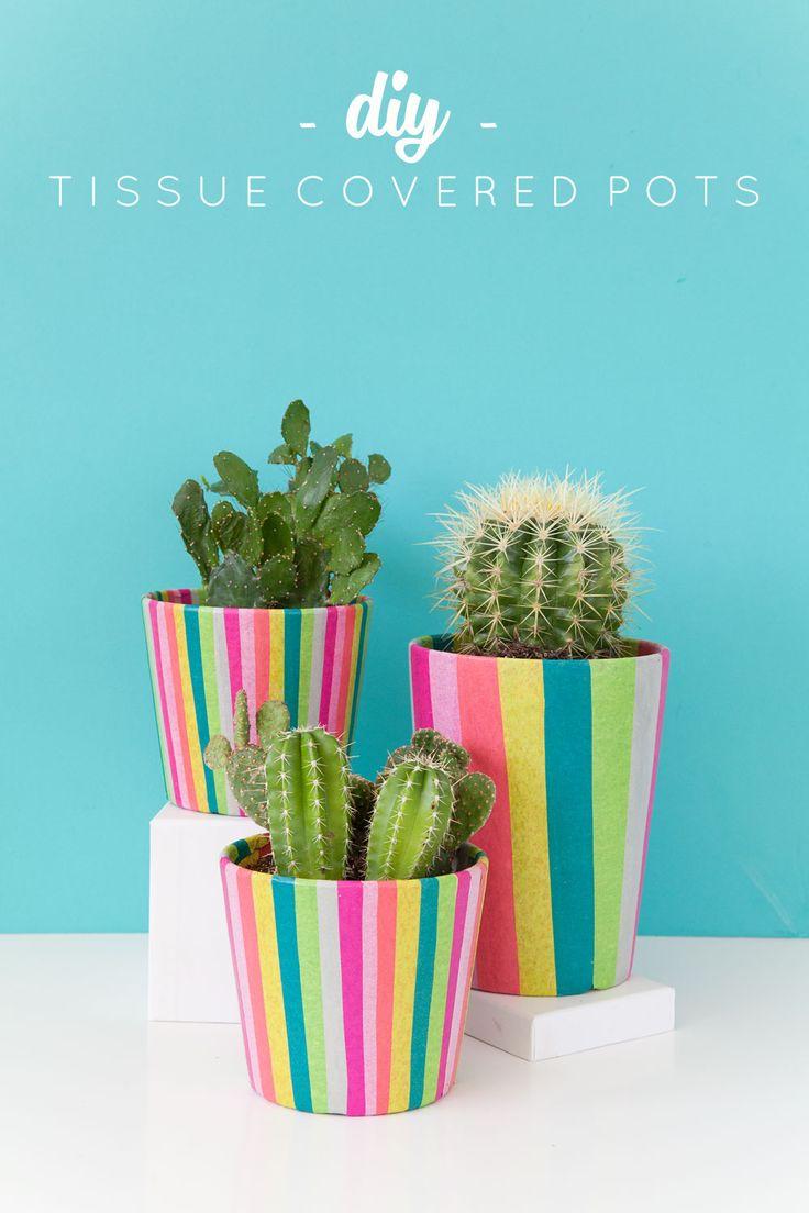 DIY Tissue Paper Covered Flower Pots