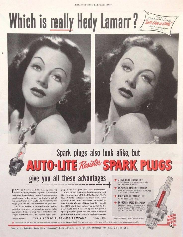 AUTO-LITE SPARK PLUGS AD FEAT RETRO HEDY LAMARR 1948 original vintage advert