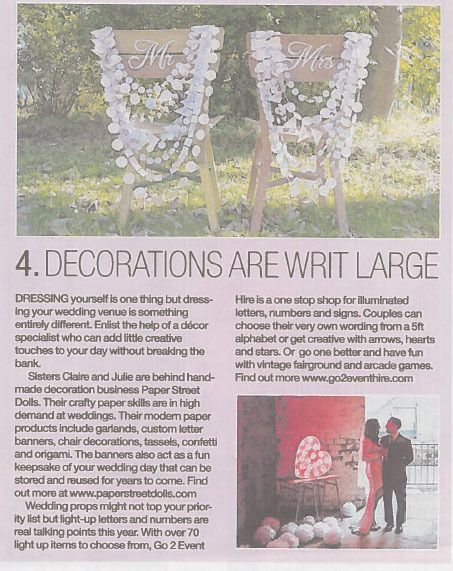 So cool that our Delysia wedding chair garlands were in the wedding supplement of The Herald last year!  Big thanks to Ann Russell who wrote the article for the feature!