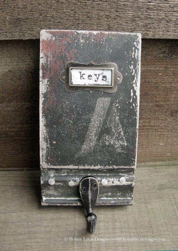 Porte-clef Look Vintage Style industriel, main peint clé crochet, crochet rustique pour cuisine, vestiaire ou décor de bureau, affligé de crochet pour les clés