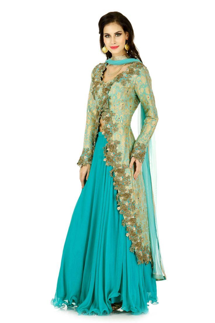 Aqua Blue Lehenga | Ritika Bhasin | Rent Designer Lehenga | India | Swishlist.in