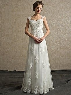 Cap Sleeved Tulle Princess Wedding Dress with Appliqued Bodice - USD $215.99