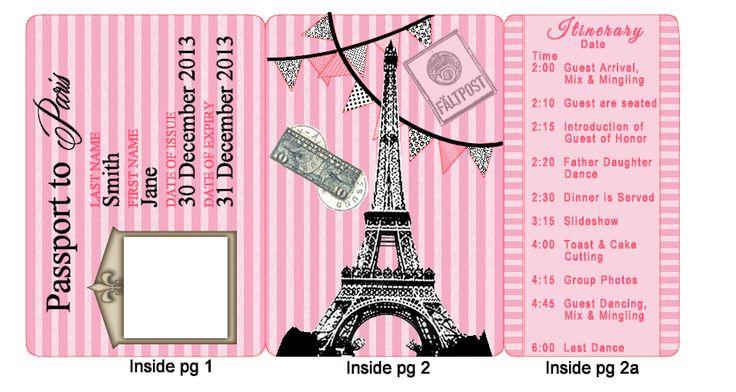 paris party  passport invitation tri