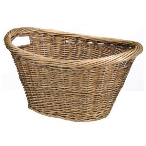 Large wicker willow basket oval storage with handle log - Large wicker laundry hamper ...