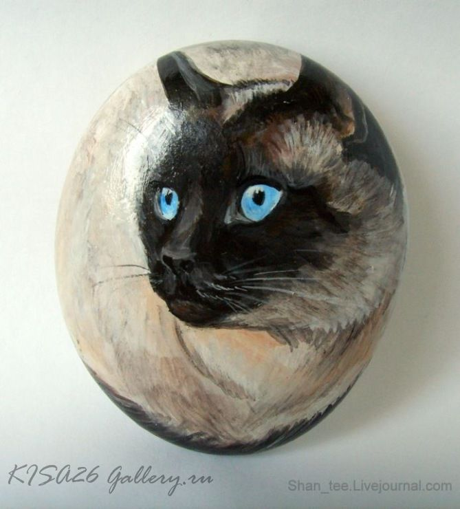 Cat painted rock. Maybe for Kimberly ~ one of these days!