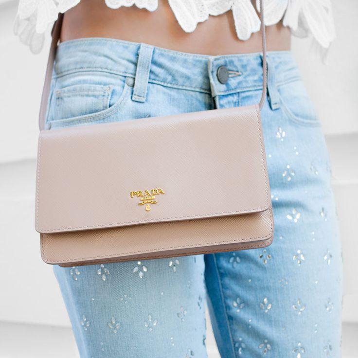 Prada Saffiano Lux Mini Crossbody Bag in beige