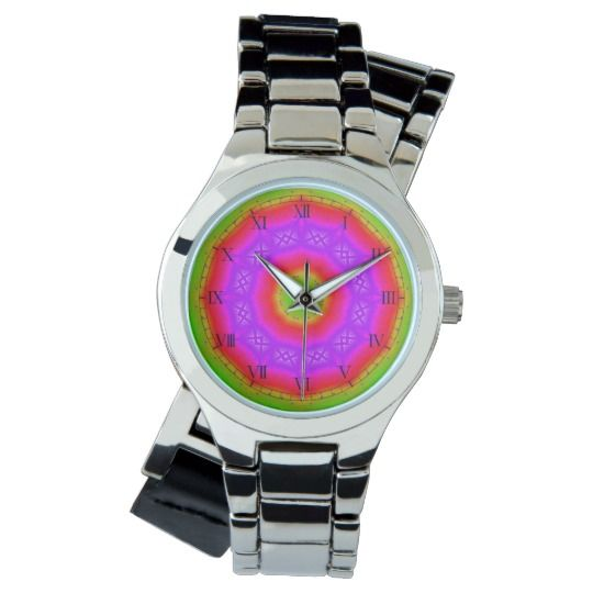 Happy Colors Silver Wrap-Around Wrist Watch by www.zazzle.com/htgraphicdesigner* #zazzle #watch #wrist #wristwatch #colorful #mandala #kaleidoscope  #woman #girl #colourful #gift #giftidea