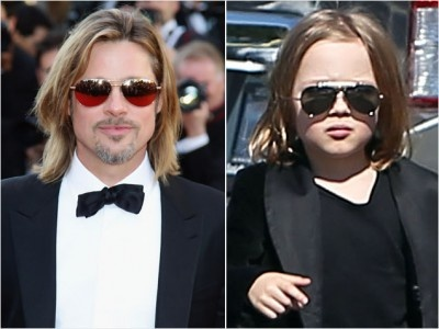 mini me knox jolie pitt in his velvet T blaze This is adorable with the sunglasses