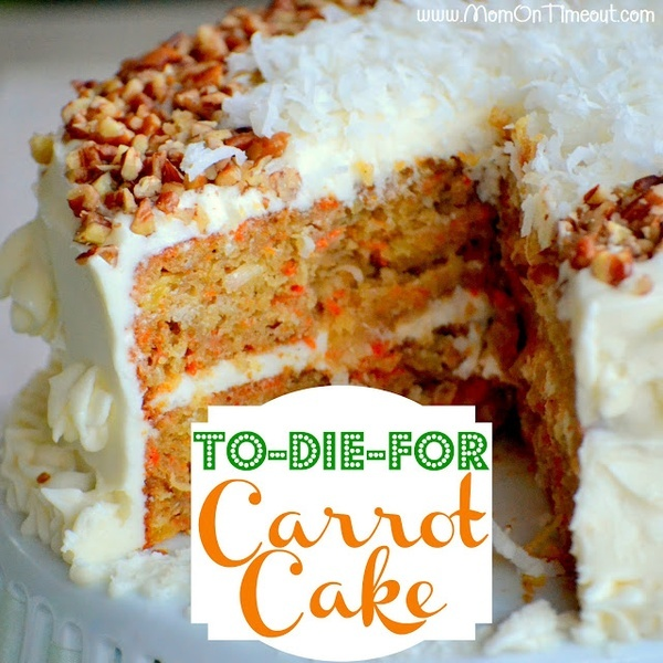 The yummiest, moistest, carrot cake youve ever tried! Topped with a cream cheese frosting this To-Die-For Carrot Cake will be a dessert you make for years to come!  Recipe