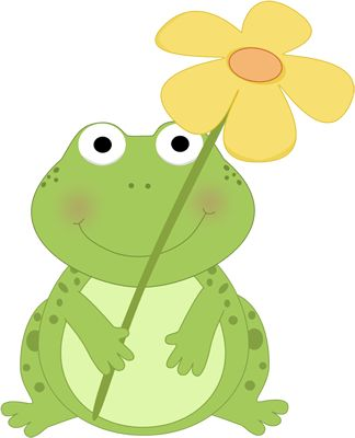Cute+Spring+Clip+Art | Frog Holding a Flower Clip Art Image - cute frog holding a big yellow ...