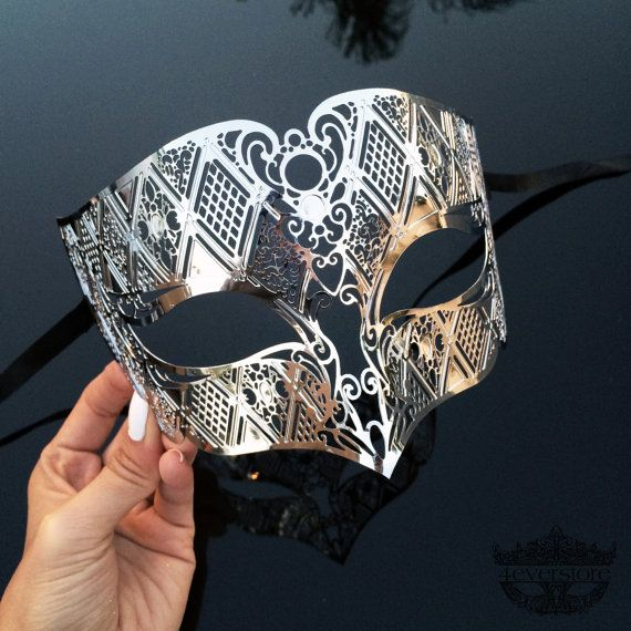 Silver Men's Masquerade Mask Mens Mask Silver by 4everstore