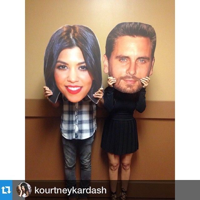 Cute couples photo idea. Kourtney Kardashian with her Scott Disick big head cutouts. Make your own with any photo at BuildAHead.com