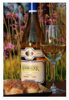 Baked scallops and Rombauer Chardonnay. If you like an oakey, buttery chard, then this is your wine!