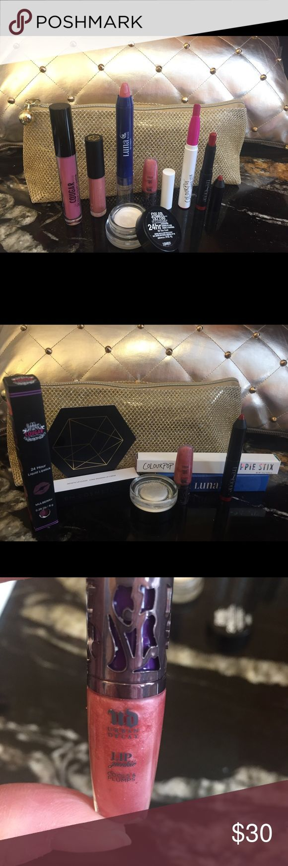 Makeup Bundle! ⭐️Urban Decay, Colorpop Lip Bundle! Beautiful Lip Bundle with Gorgeous gold glitter makeup bag! ⭐️⭐️ One Maybelline Color Tattoo Eye Shadow in Too Cool, slightly used.   NWT: Urban Decay, factory sealed mini Lip Junkie in Naked; Cougar 24 Hour Liquid Lipstick in Mulberry full size; EM Cosmetics Infinite Lip Cloud Long Wearing Lip Creme in Rose Nude travel size.   Swatched but never used: Colorpop Lippie Stix in Matte X full size; Luna Lip Crayon in Elara full size; trèStique…