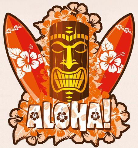 Hawaiian Vintage Art Decal Hawaii Surfing Sticker Tiki