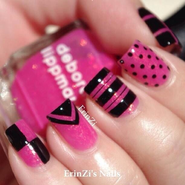 Black And Pink Nails