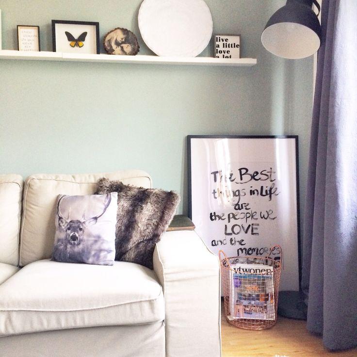Xxxl lijst met quote! Mand is van sissy boy homeland, kleur op de muur is early dew van flexa | on my shelf, interior, living