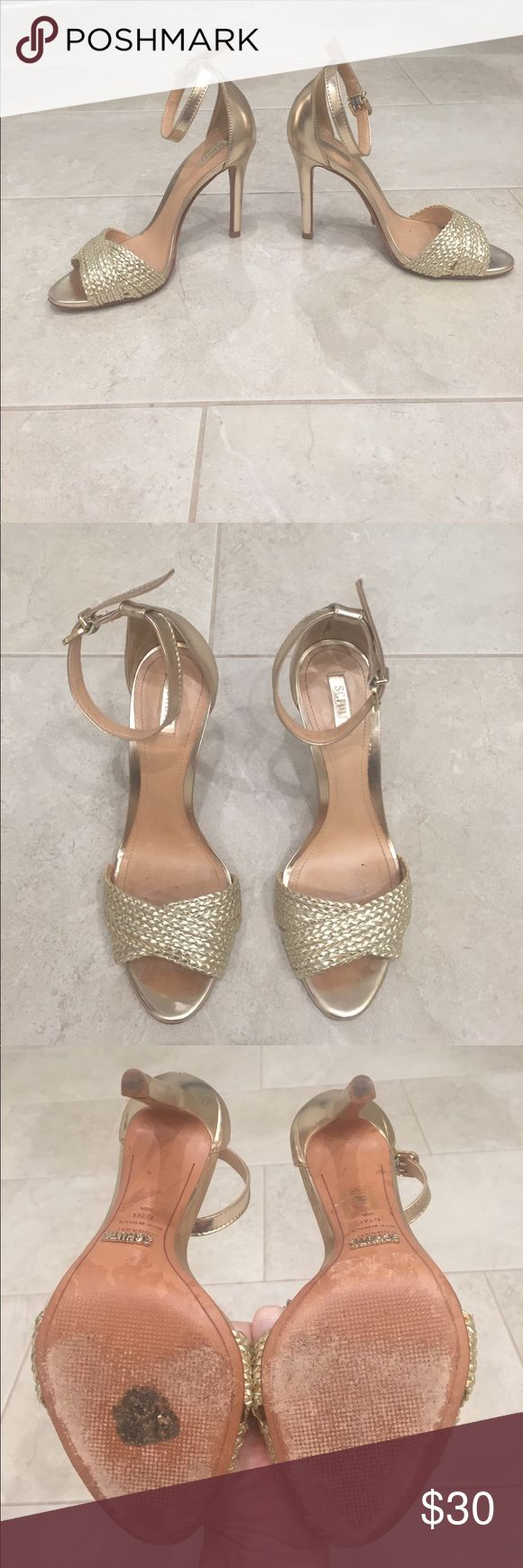 Schutz heeled sandals, size 6.5 Schutz heeled sandals, size 6.5, color-gold. Worn only twice! Soles and heel pad in great condition! Great neutral heel for the Spring/Summer! SCHUTZ Shoes Heels