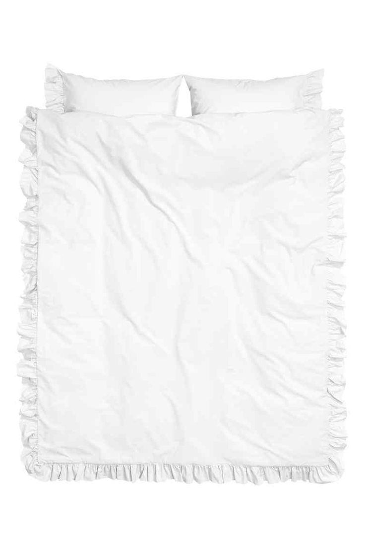 Parure de couette en popeline - Blanc - Home All | H&M FR