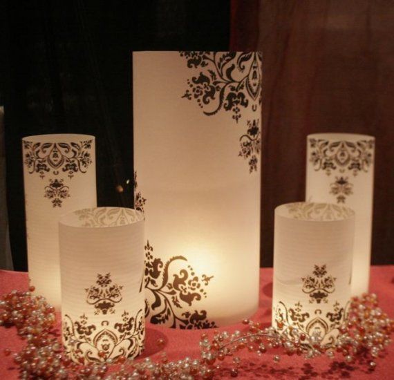 20 Sets of Damask centerpiece luminary Wedding set of 3 -Each set includes 1 - 13 inch luminary, 1 - 8 inch luminary, 1 - 6 inch luminary