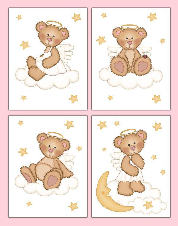 Angel Teddy Bear Wall Art Prints Girl Woodland Forest Animal Nursery Moon Stars #Handmade #WallArtPrints