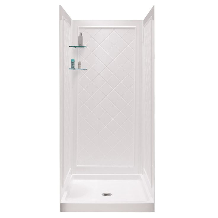 DreamLine Shower Base and Back Walls White Acrylic Wall Acrylic Floor 2-Piece Alcove Shower Kit (Common: 32-in x 32-in; Actual: 76.75-in X