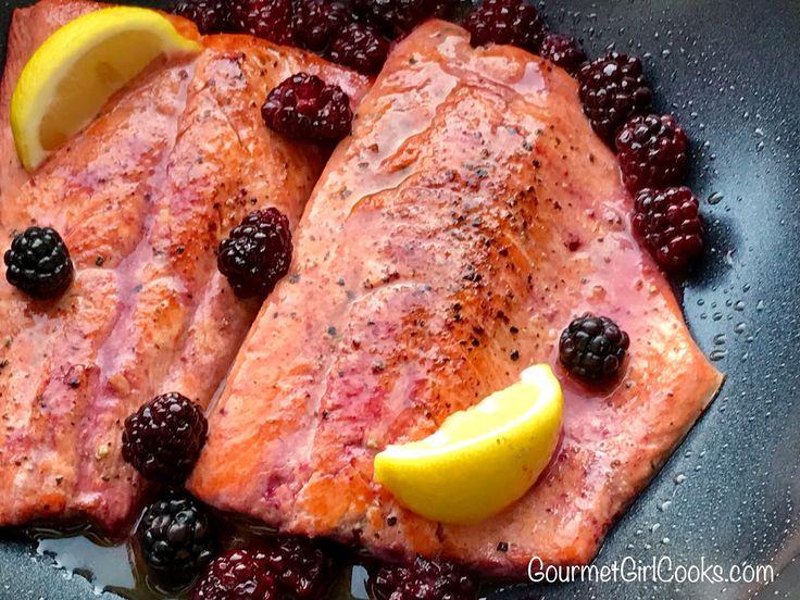 Pan Seared Salmon with Lemon Blackberry Butter, Copper River Salmon, Wild Salmon Recipes, Copper River Salmon Recipes, Healthy Recipes, Gluten Free Recipes, Fresh Salmon Recipes, Alaskan Salmon, Cordova Alaska