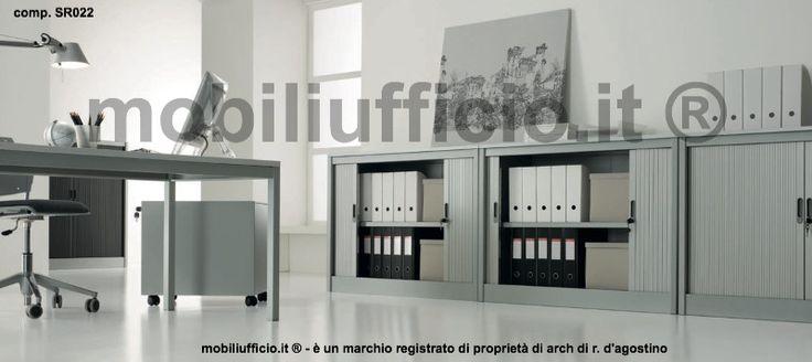 comp. SR022 - #mobili contenitori bassi per #archivio con anta a #serrandina, serratura e 1 ripiano interno.