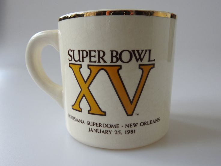 Super Bowl XV Coffee Mug Philadelphia Eagles Oakland Raiders Super Bowl 15 1981 Louisiana Superdome Lewis Brothers Ceramics by PurveyorsOfFineJunk on Etsy